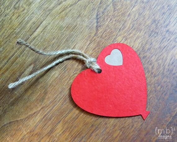 Red Heart Balloon Hang Tags  Gift Tag  Favor Tag
