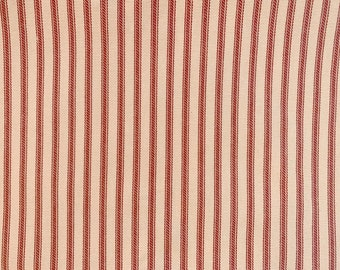 NEW Red Striped Bed Ticking Fabric Material By The Yard