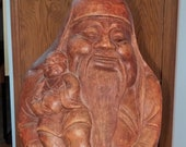 Carved Bamboo Root Chinese Wise Man Fuk Lak Sau Holding Child Carved Burled Root