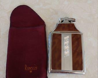 Ronson Mastercase Combination Lighter Cigarette Case and Pouch 1930's Art Deco Design Faux Tortoise Shell Enamel Silver Tone