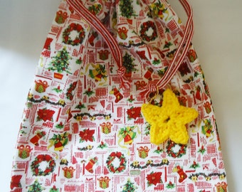 100% Handmade Xmas Draw String Bag with a cute crocheted Star
