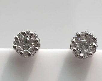 14K White Gold Cluster Diamond Earrings