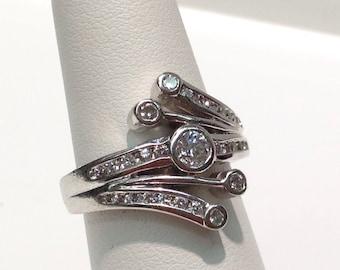 Fancy Diamond Ring in 14K White Gold