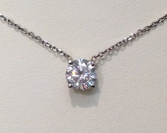 Handmade Diamond Solitaire Necklace in 14K Gold, Solitaire Diamond Necklace, Diamond Necklace, Single Diamond Necklace, Brilliant Diamond