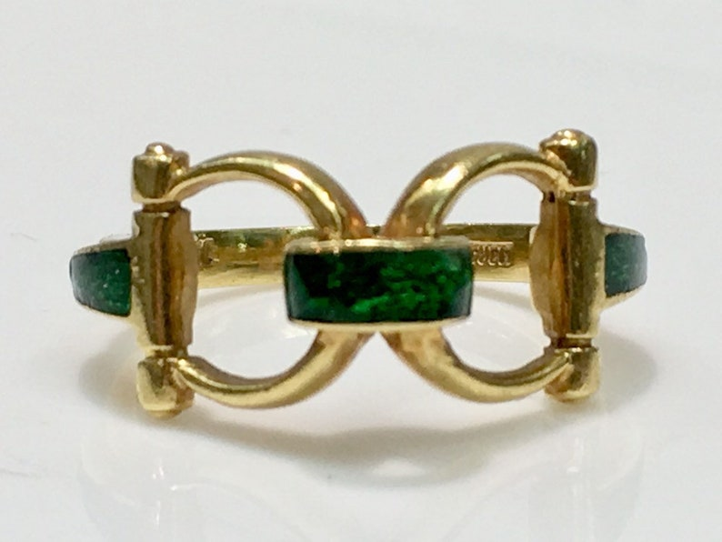 f2317814b5 Genuine Gucci Horsebit Ring in 18K Yellow Gold with Green Enamel, Gucci,  Horsebit, Gucci Ring, 18K Gucci Ring, Gucci Enamel Ring,