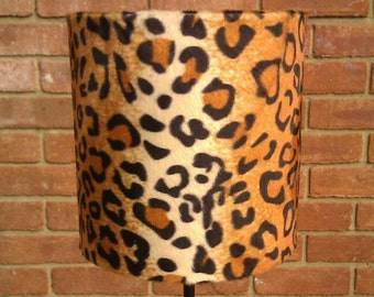 20cm x 20cm Tan And Black Leopard print Faux Fur Drum Lamp shade Fits Ceiling & Lamps By Veebeez