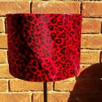 "8"" / 20cm Red & Black Baby Leopard Animal Print Faux Fur Drum lampshade Universal BC Fit Exclusive!"