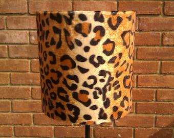 20cm w X 30cm h Adult Tan Leopard Animal Print Faux Fur Drum lampshade & Ceiling Pendant
