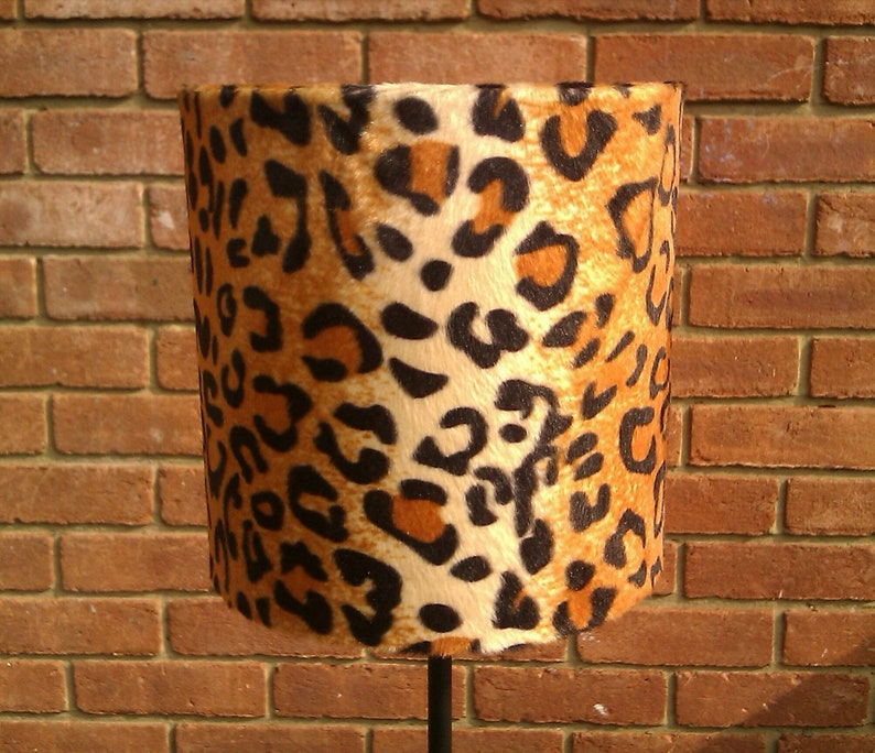 20 X 15cm Adult Tan Leopard Animal Print Faux Fur Drum image 0