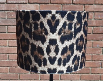 20cm W X 15 cm H Brown Adult Leopard Animal Print Velour Drum lampshade and Ceiling Pendant