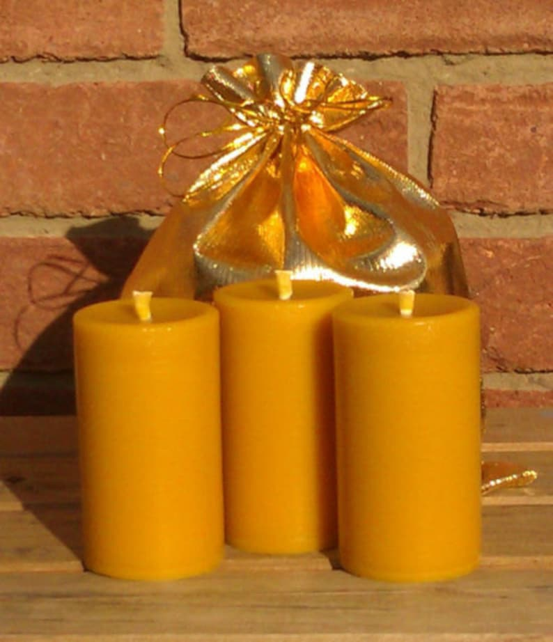 3 100% Pure English Beeswax Church Pillar Candles 25 Hour image 0