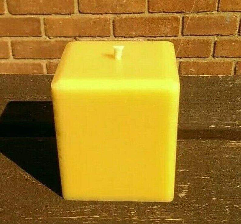Large 100% Pure English Beeswax Square Pillar Candle 75 Hr image 0