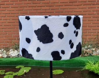 25cm W x 15 H cm Handmade Black & White Cow Animal Print Faux Fur Drum lampshade and Ceiling Pendant