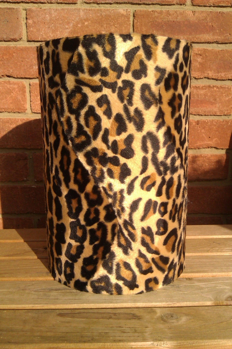 35cm Caramel Adult Leopard Animal Print Faux Fur Lampshade & image 0