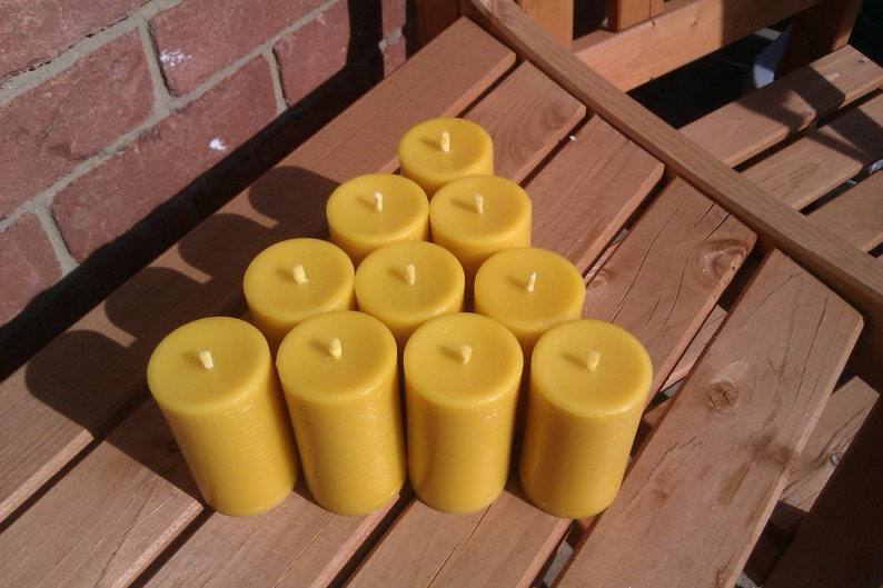 10 100% Pure English Beeswax Church Pillar Candles 25 Hour 85 image 0