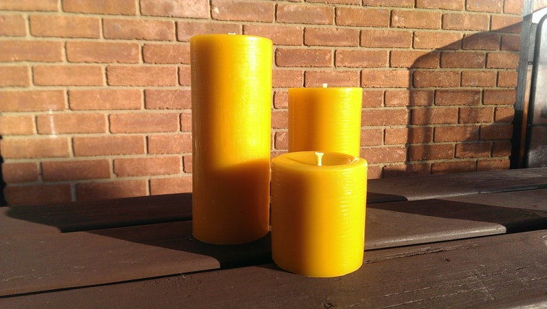 3 Large 100% Pure English Beeswax Pillar Candles Solid Cast image 0