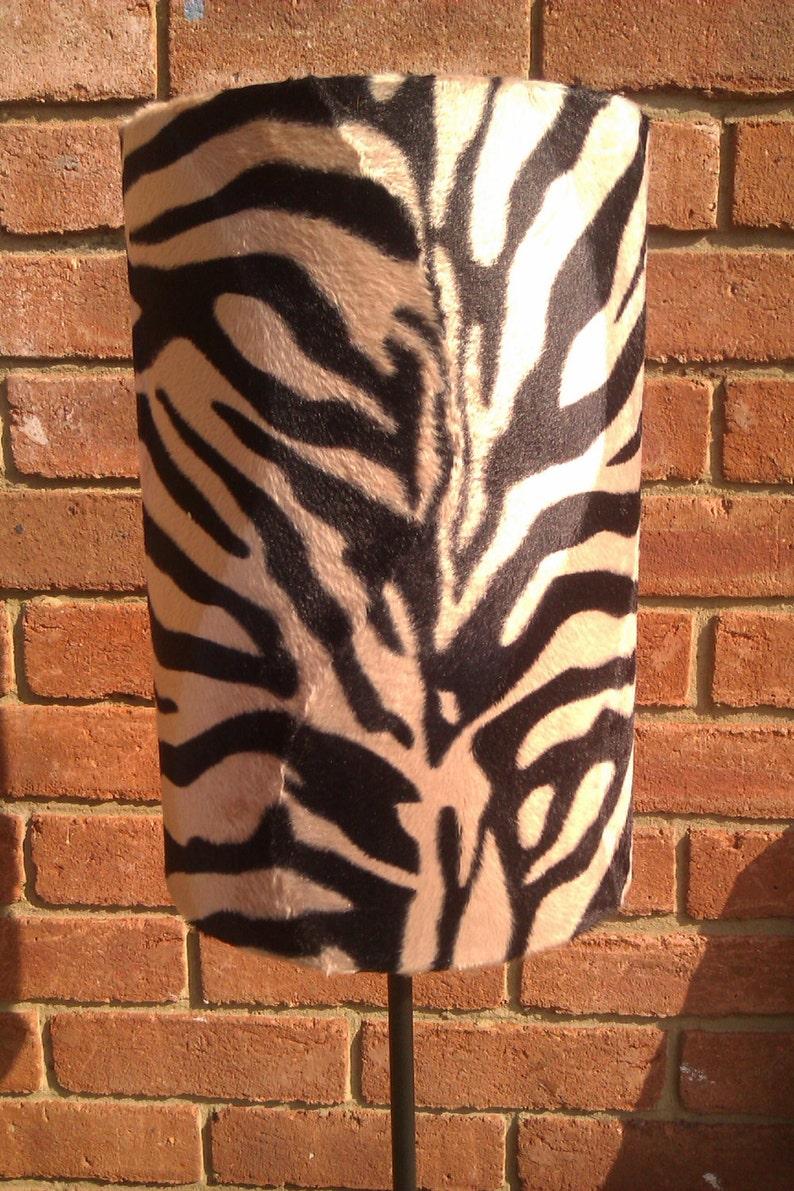 30cm Width Handmade Beige Zebra Animal Print Faux Fur image 0