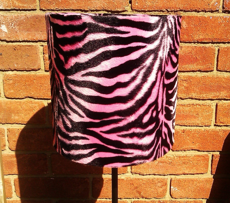 20cm Handmade Baby Pink and Black Zebra Faux Fur Drum Lamp image 0