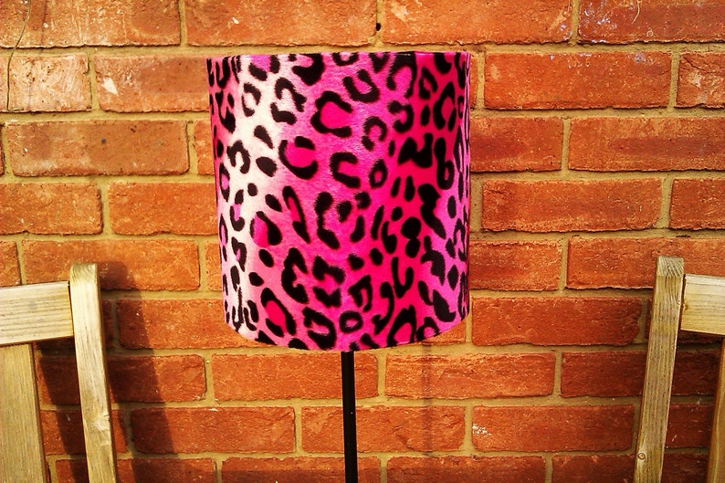 8 Hot Pink Pink And Black Leopard print Faux Fur Drum image 0