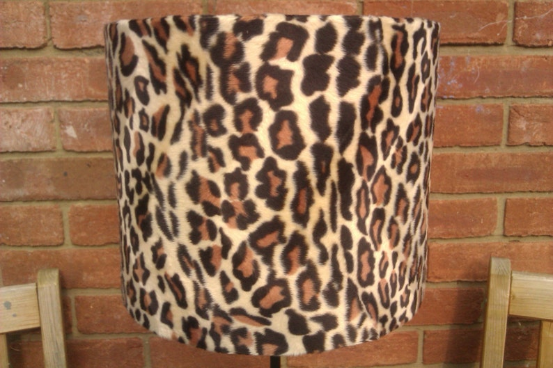 8 Handmade Adult Snow Leopard Animal Print Faux Fur Drum image 0