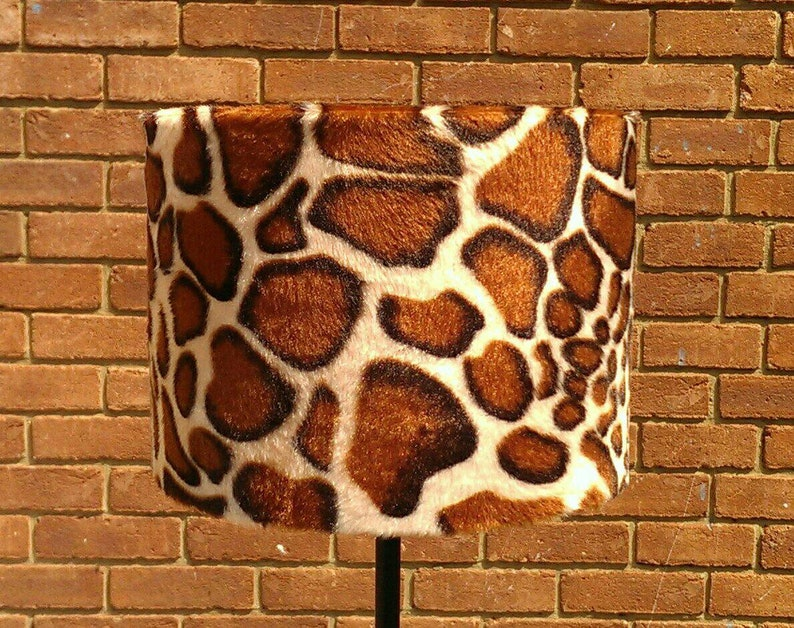25 x 15 cm Handmade Giraffe Animal Print Faux Fur Drum image 0