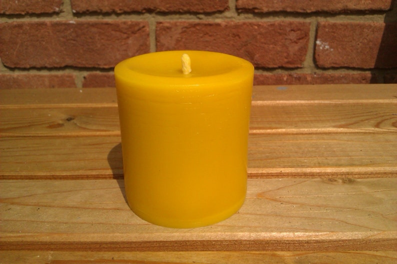 10 Large 100% Pure English Beeswax Pillar Candle 75 Hr Burn image 0