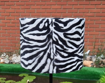 20cm W x 15cm H Black and White Baby Zebra animal Print faux fur lampshade & Ceiling Pendant