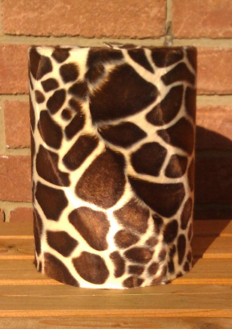 8 Chocolate Brown Giraffe Animal Print Faux Fur Drum image 0