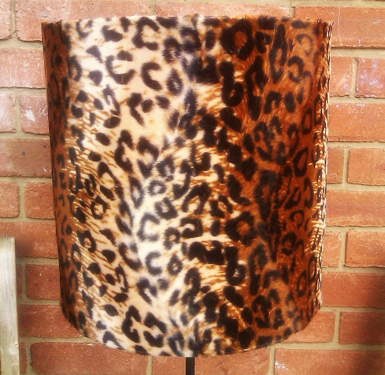 20cm Adult Cheetah Print Faux Fur Drum Lampshade & Ceiling image 0