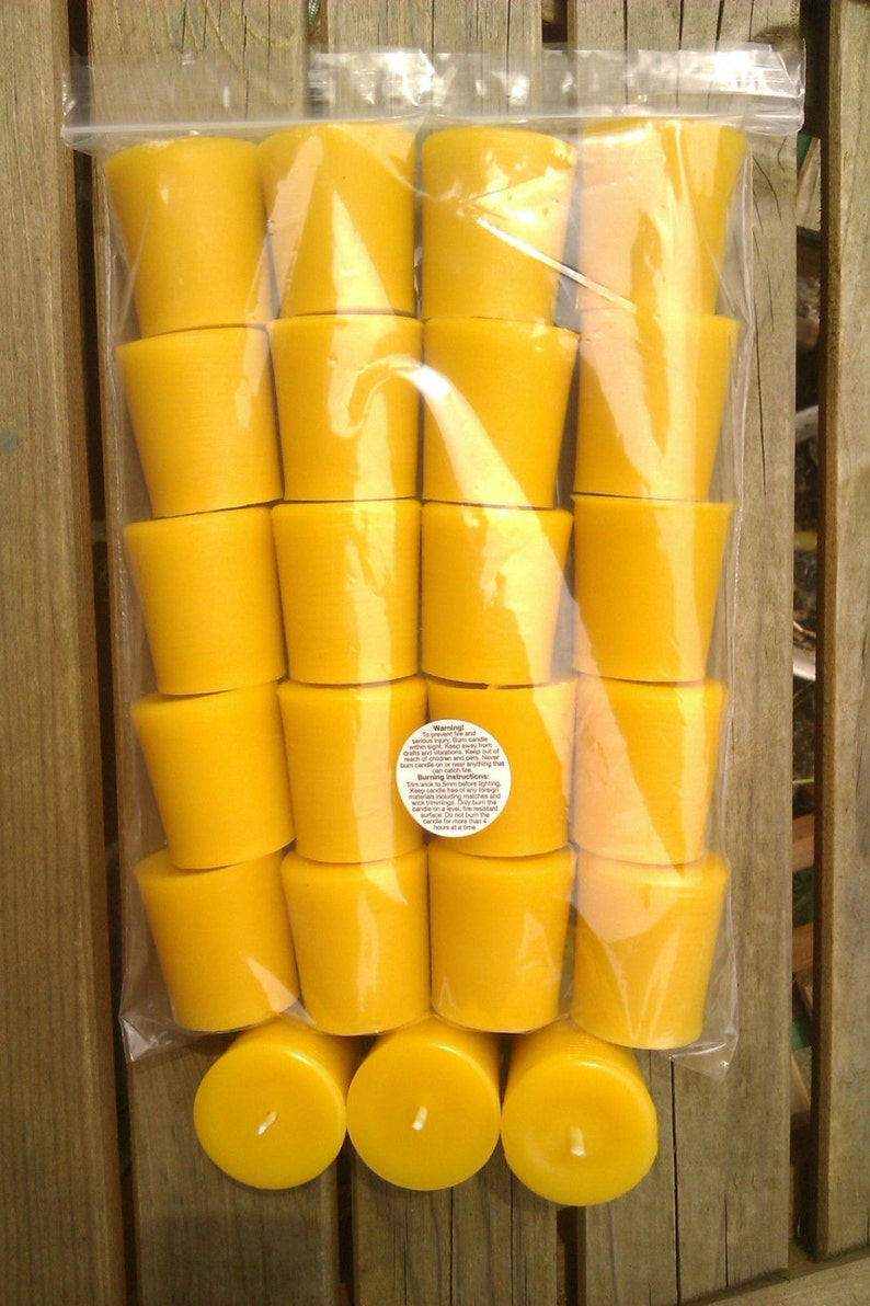 20 100% Pure English Beeswax Votive Candle Unscented 3.5 x 5cm image 0