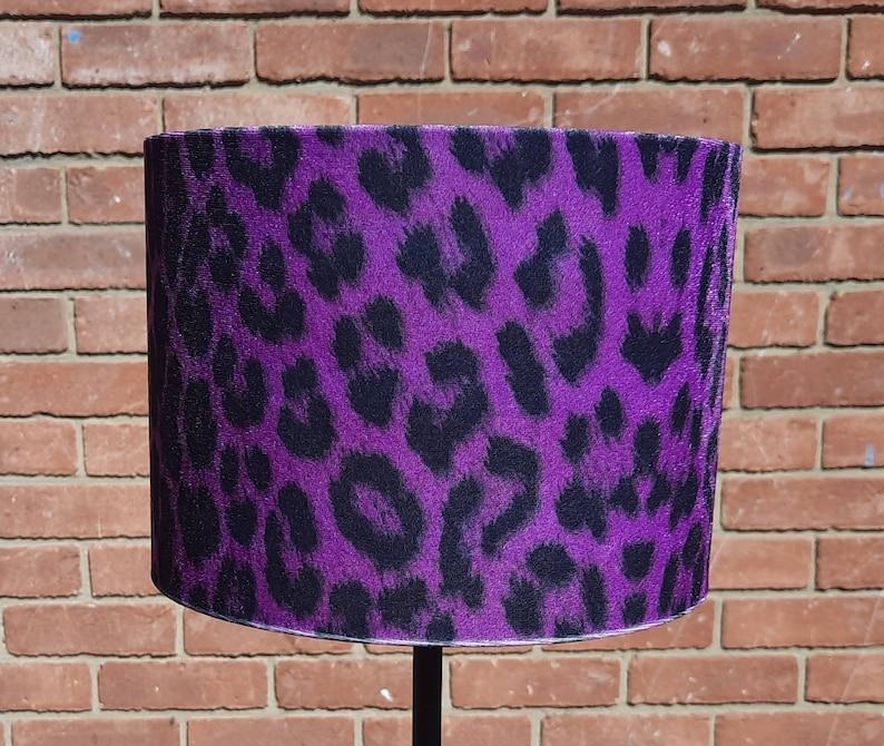 20 X 15 cm Purple Leopard Animal Print Velour Drum lampshade image 0