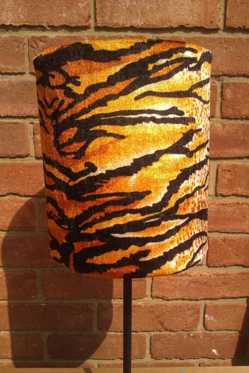 30cm Width Handmade Orange Tiger Animal Print Velour Lampshade image 0