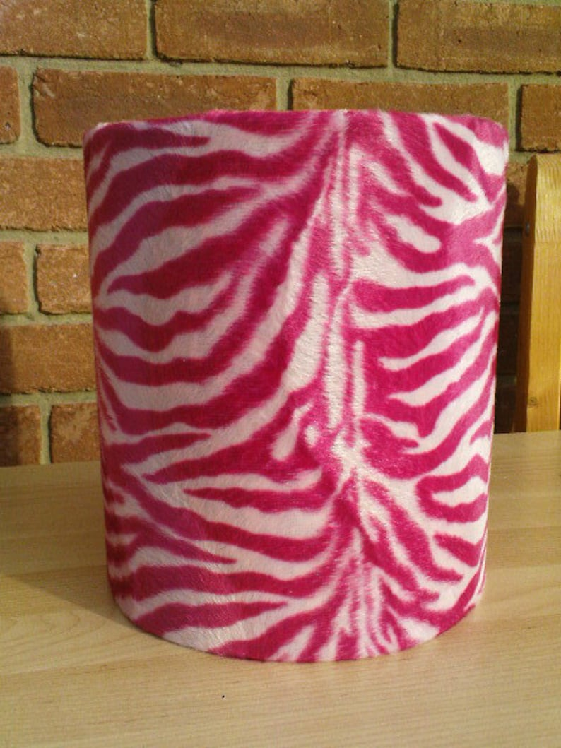 20cm Funky Pink and White Zebra Animal Print Faux Fur image 0