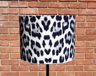 20 X 15 cm Snow Leopard Animal Print Velour Drum lampshade and Ceiling Pendant