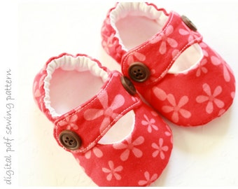 Baby Shoe Pattern - Modern Mary Janes - Sizes 1 to 5