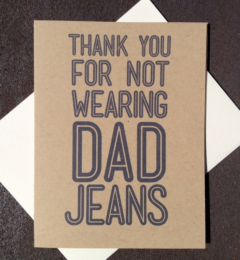 Father's Day Card Rustic Modern Dad Jeans Funny Grey Kraft image 0