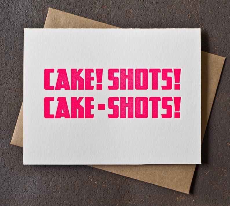 Letterpress Birthday Card  Cake Shots  Neon Pink image 0
