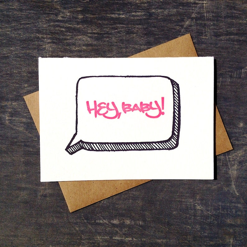 Letterpress Funny New Baby Card Hey Baby Neon Pink Graffiti image 0