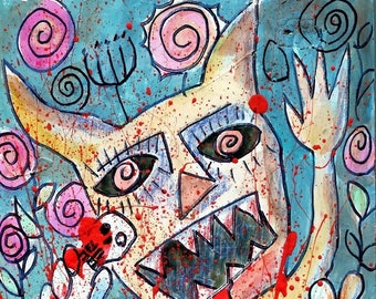 "Outsider art Painting, Art Brut, ""Going #Dexter in the Garden"", Raw Art"