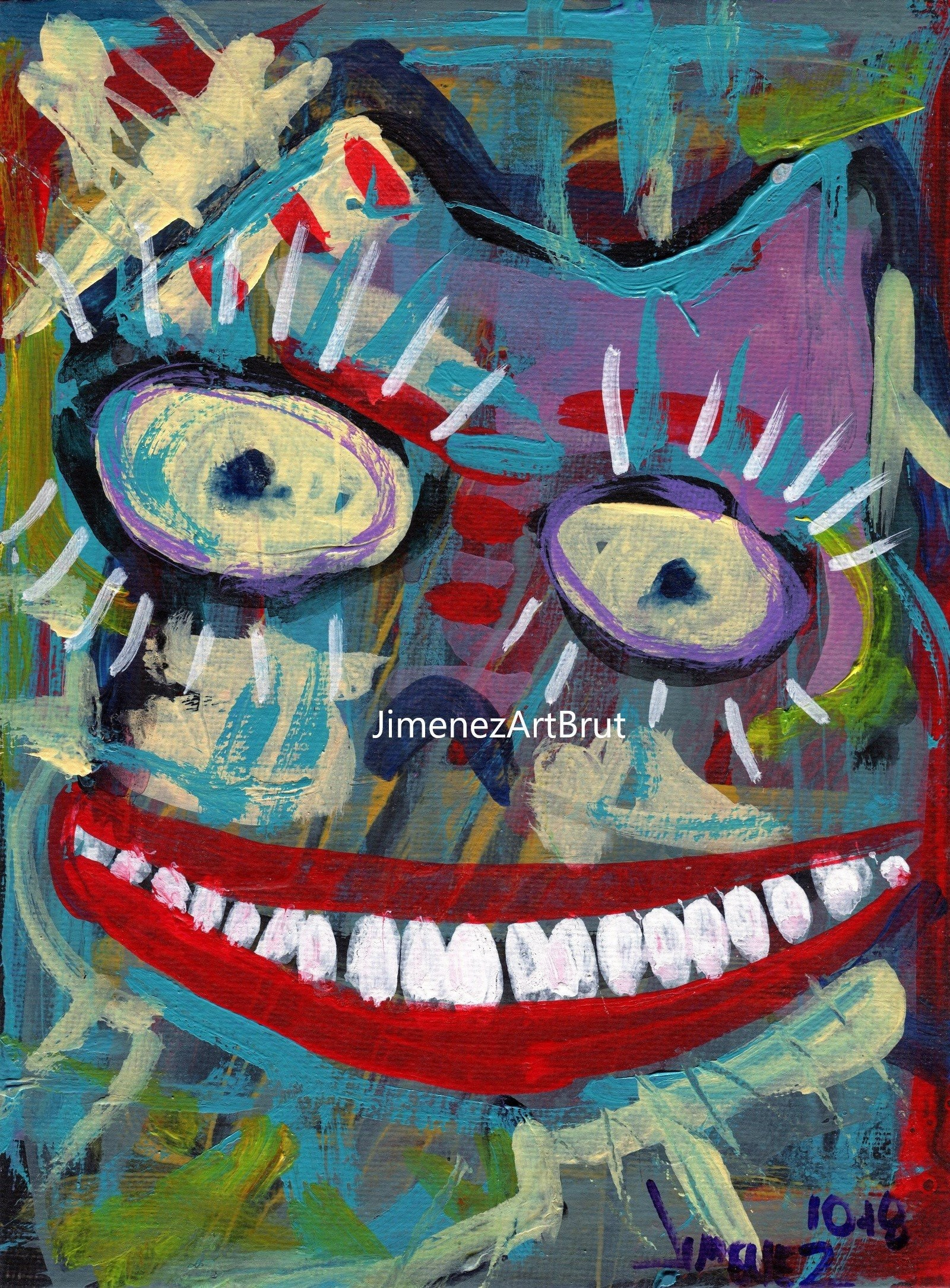 Original Outsider Art Painting Art Brut Neo Expressionism
