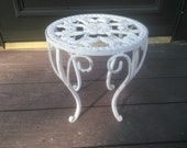 Vintage White Plant Stand - Metal Plant Stand - Cast Iron Plant Stand - Fern Stand - Small Table - Garden Decor