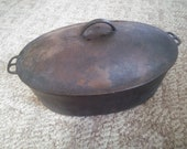Oval Wagner Drip Drop Cast Iron Roaster - Cast Iron Cookware - Cast Iron Covered Roaster - Wagner Roaster with Drip Drop Baster Lid REDUCED