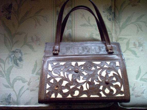 Vintage Hand Tooled Leather Purse - Purse - Leathe