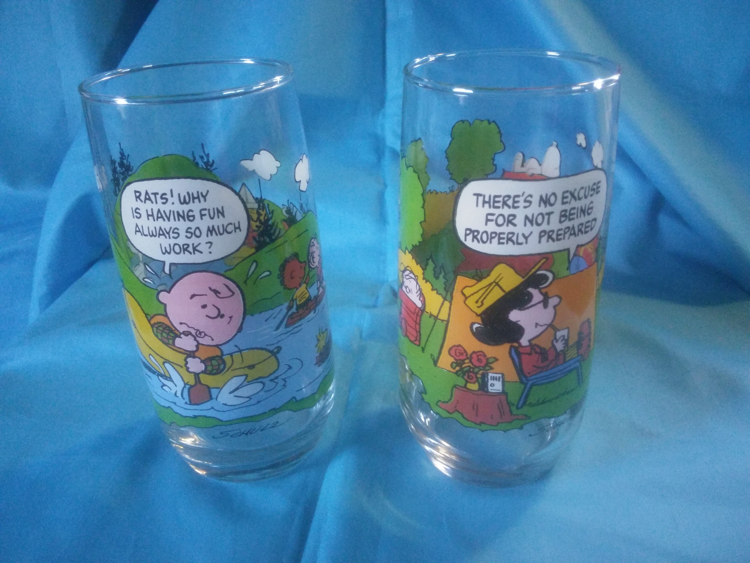 aa0133d4c5 Vintage Pair of McDonald s Camp Snoopy Collection Glasses