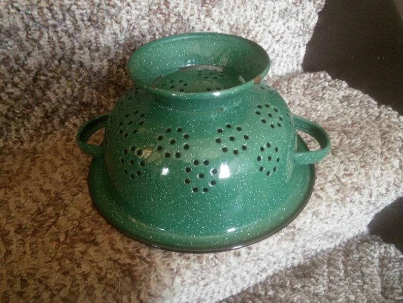 Colander Vintage Green and Black Enamelware Strainer Green and Black Strainer Strainer Planter Vintage Strainer