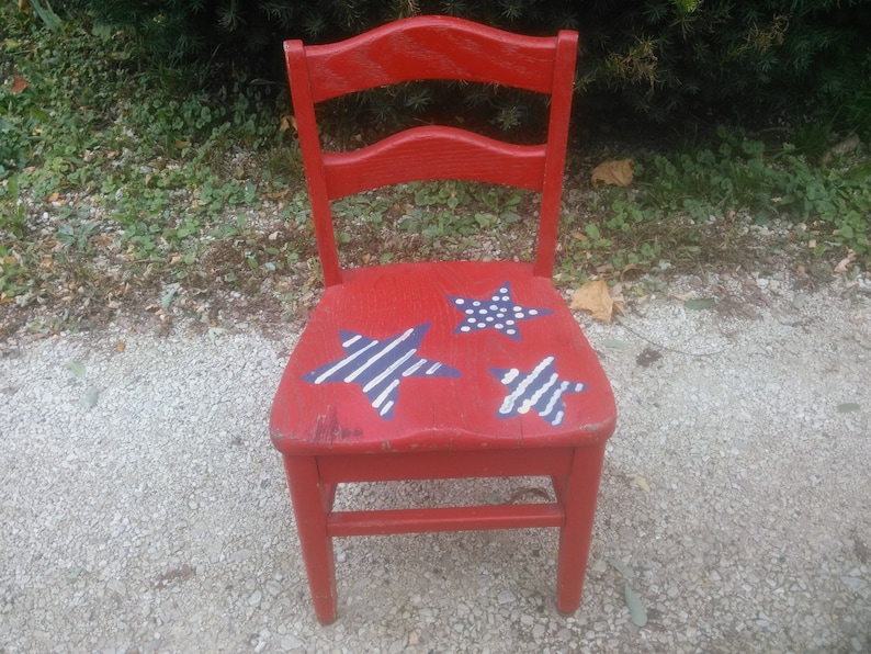 Magnificent Kids Chair Childs Wood Chair Childs Chair Solid Oak Chair Plant Stand School Chair Patriotic Chair Red White And Blue Chair Short Links Chair Design For Home Short Linksinfo