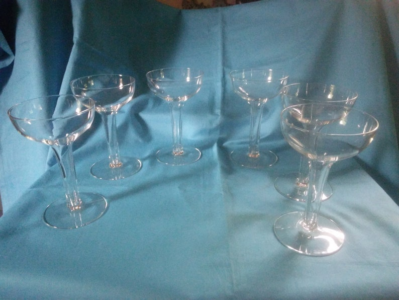 """Vintage Hollow Stem 5 1//8/"""" Champagne Coupes SET of 4 Mid-Century Toasting Ware"""