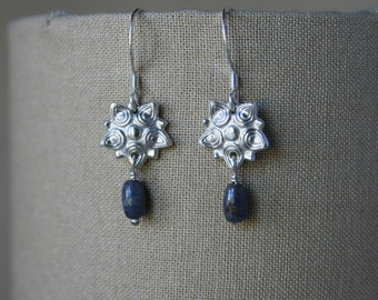 Fine Silver and Natural Sapphire Floral Starburst Earrings