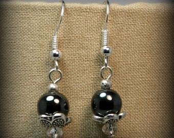 Hematite, Swarovski, and silver dangle earrings - hand made