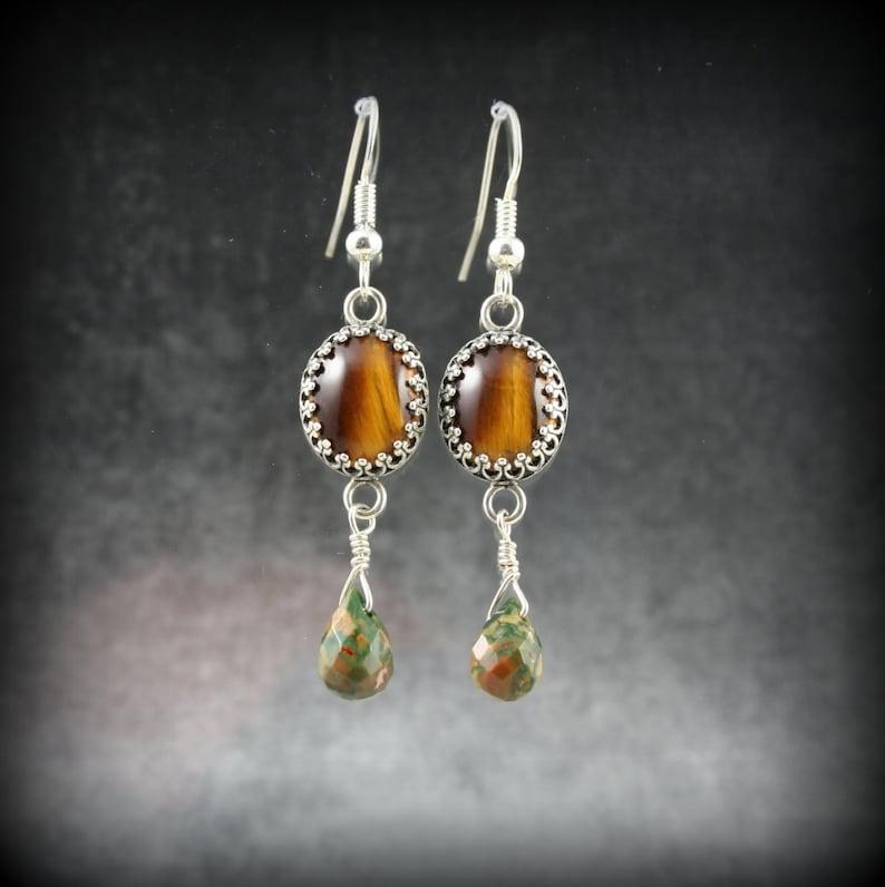 Tiger Eye and Rainforest Jasper sterling silver earrings image 0